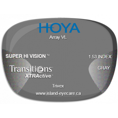 Hoya Array VL Trivex Super Hi Vision Transitions XTRActive - Gray