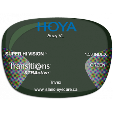 Hoya Array VL Trivex Super Hi Vision Transitions XTRActive - Green