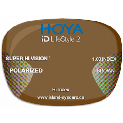 Hoya iD LifeStyle2 1.60 Super Hi Vision Hoya Polarized - Brown