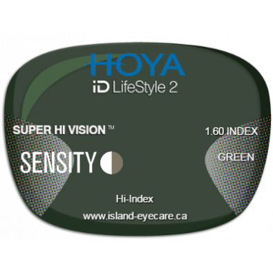 Hoya iD LifeStyle2 1.60 Super Hi Vision Sensity - Green