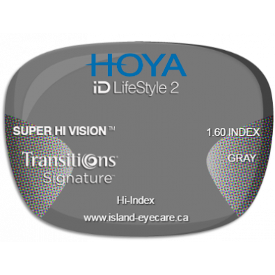 Hoya iD LifeStyle2 1.60 Super Hi Vision Transitions Signature - Gray