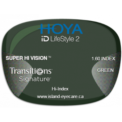 Hoya iD LifeStyle2 1.60 Super Hi Vision Transitions Signature - Green
