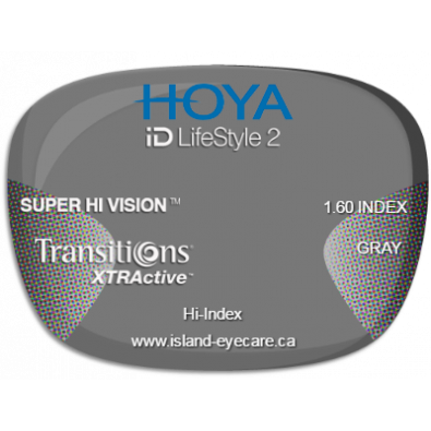 Hoya iD LifeStyle2 1.60 Super Hi Vision Transitions XTRActive - Gray