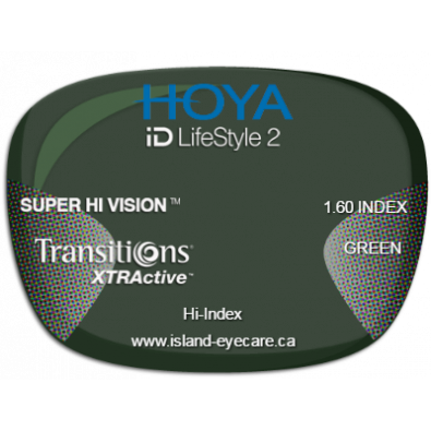 Hoya iD LifeStyle2 1.60 Super Hi Vision Transitions XTRActive - Green
