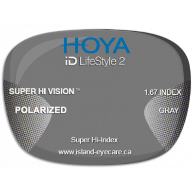 Hoya iD LifeStyle2 1.67 Super Hi Vision Hoya Polarized - Gray