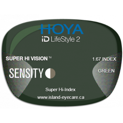 Hoya iD LifeStyle2 1.67 Super Hi Vision Sensity - Green