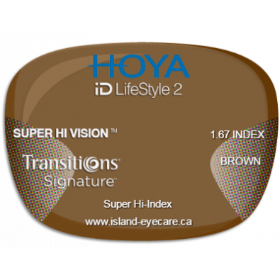 Hoya iD LifeStyle2 1.67 Super Hi Vision Transitions Signature - Brown