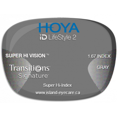 Hoya iD LifeStyle2 1.67 Super Hi Vision Transitions Signature - Gray