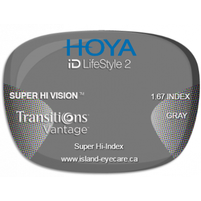 Hoya iD LifeStyle2 1.67 Super Hi Vision Transitions Vantage - Gray