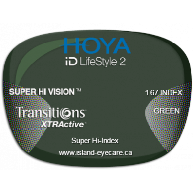 Hoya iD LifeStyle2 1.67 Super Hi Vision Transitions XTRActive - Green