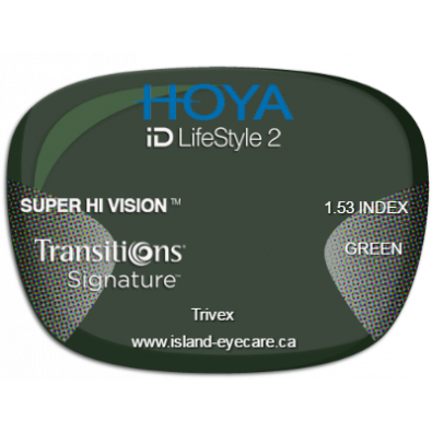 Hoya iD LifeStyle2 Trivex Super Hi Vision Transitions Signature - Green