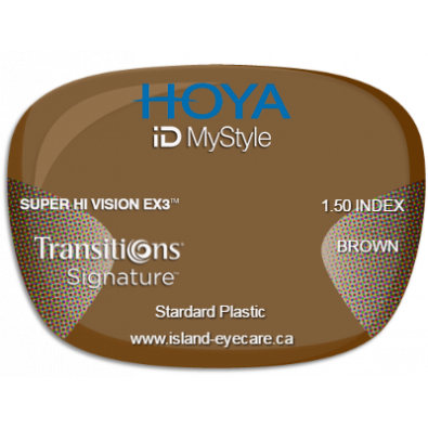 Hoya iD MyStyle 1.50 Super Hi Vision EX3 Transitions Signature - Brown