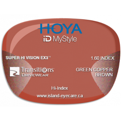 Hoya iD MyStyle 1.60 Super Hi Vision EX3 Transitions Drivewear  - Green Copper Brown