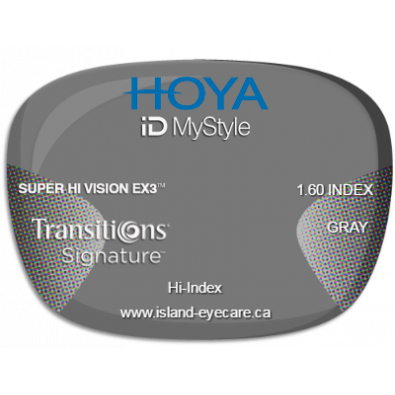 Hoya iD MyStyle 1.60 Super Hi Vision EX3 Transitions Signature - Gray