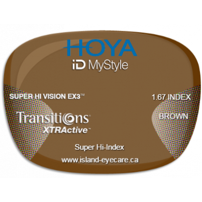 Hoya iD MyStyle 1.67 Super Hi Vision EX3 Transitions XTRActive - Brown