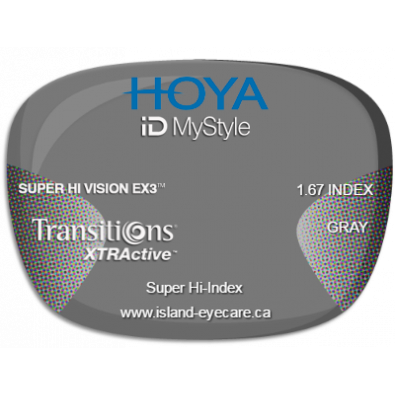 Hoya iD MyStyle 1.67 Super Hi Vision EX3 Transitions XTRActive - Gray