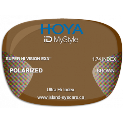 Hoya iD MyStyle 1.74 Super Hi Vision EX3 Hoya Polarized - Brown