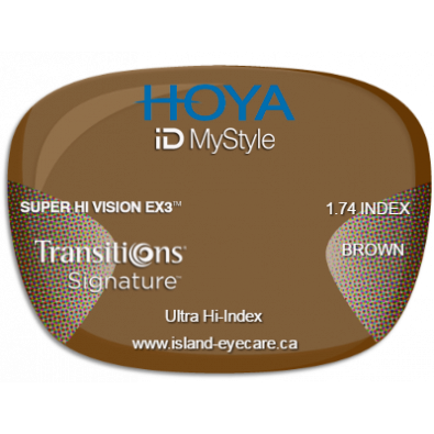 Hoya iD MyStyle 1.74 Super Hi Vision EX3 Transitions Signature - Brown