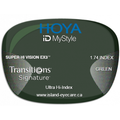 Hoya iD MyStyle 1.74 Super Hi Vision EX3 Transitions Signature - Green