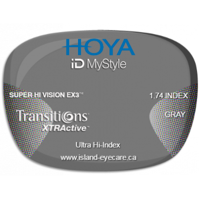 Hoya iD MyStyle 1.74 Super Hi Vision EX3 Transitions XTRActive - Gray