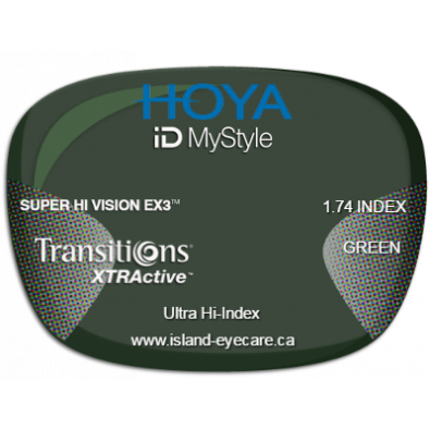 Hoya iD MyStyle 1.74 Super Hi Vision EX3 Transitions XTRActive - Green