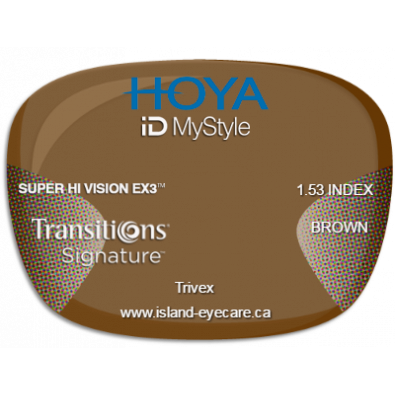 Hoya iD MyStyle Trivex Super Hi Vision EX3 Transitions Signature - Brown