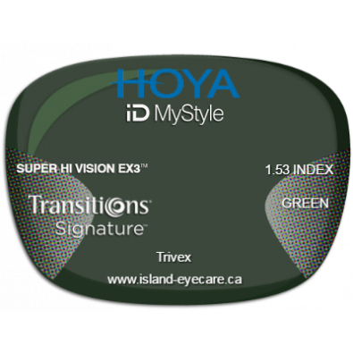 Hoya iD MyStyle Trivex Super Hi Vision EX3 Transitions Signature - Green