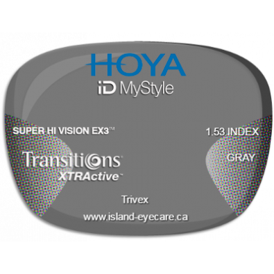 Hoya iD MyStyle Trivex Super Hi Vision EX3 Transitions XTRActive - Gray