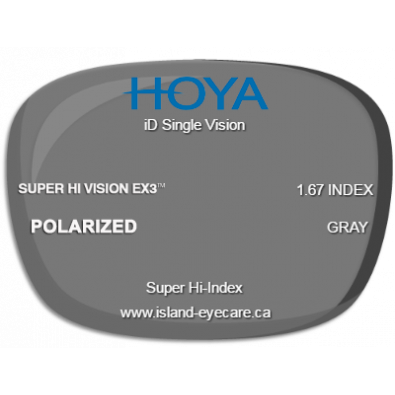 Hoya iD Single Vision 1.67 Super Hi Vision EX3 Hoya Polarized - Gray
