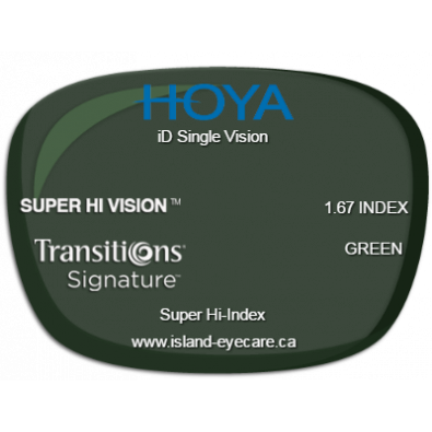 Hoya iD Single Vision 1.67 Super Hi Vision Transitions Signature - Green