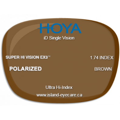 Hoya iD Single Vision 1.74 Super Hi Vision EX3 Hoya Polarized - Brown