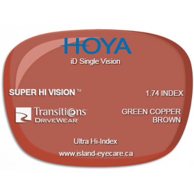 Hoya iD Single Vision 1.74 Super Hi Vision Transitions Drivewear  - Green Copper Brown
