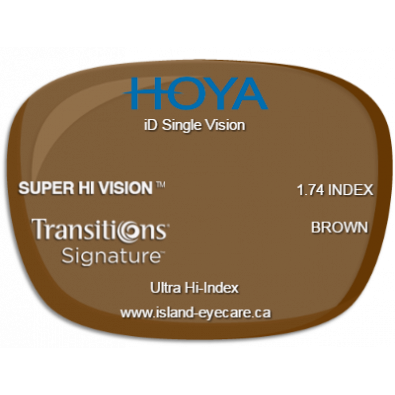 Hoya iD Single Vision 1.74 Super Hi Vision Transitions Signature - Brown
