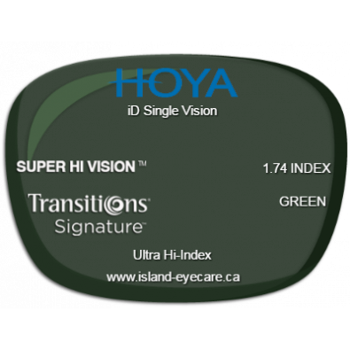 Hoya iD Single Vision 1.74 Super Hi Vision Transitions Signature - Green