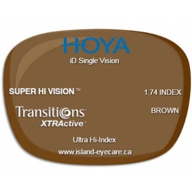 Hoya iD Single Vision 1.74 Super Hi Vision Transitions XTRActive - Brown