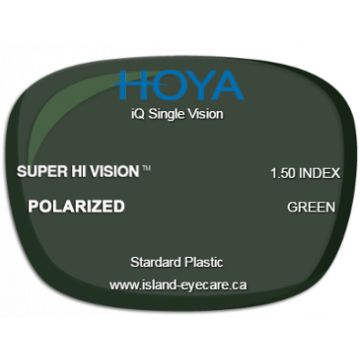Hoya iQ Single Vision 1.50 Super Hi Vision Hoya Polarized - Green