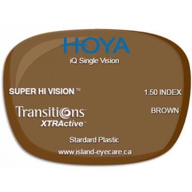 Hoya iQ Single Vision 1.50 Super Hi Vision Transitions XTRActive - Brown