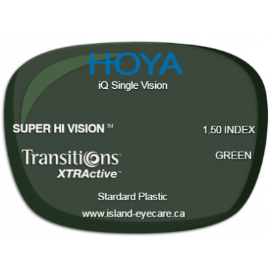 Hoya iQ Single Vision 1.50 Super Hi Vision Transitions XTRActive - Green