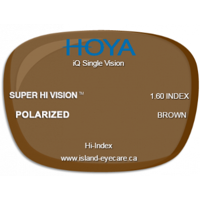 Hoya iQ Single Vision 1.60 Super Hi Vision Hoya Polarized - Brown