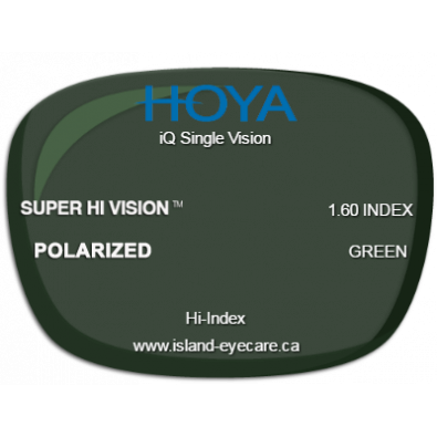 Hoya iQ Single Vision 1.60 Super Hi Vision Hoya Polarized - Green