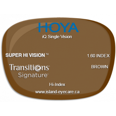 Hoya iQ Single Vision 1.60 Super Hi Vision Transitions Signature - Brown
