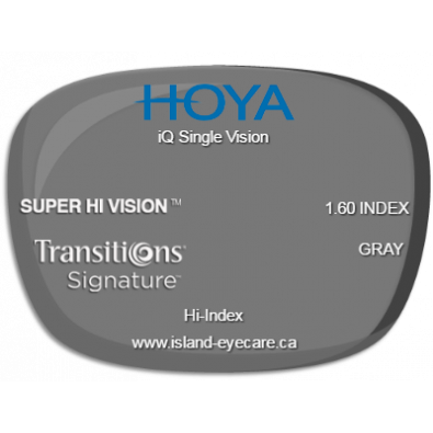 Hoya iQ Single Vision 1.60 Super Hi Vision Transitions Signature - Gray