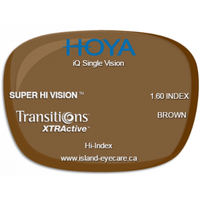 Hoya iQ Single Vision 1.60 Super Hi Vision Transitions XTRActive - Brown