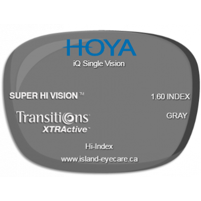 Hoya iQ Single Vision 1.60 Super Hi Vision Transitions XTRActive - Gray