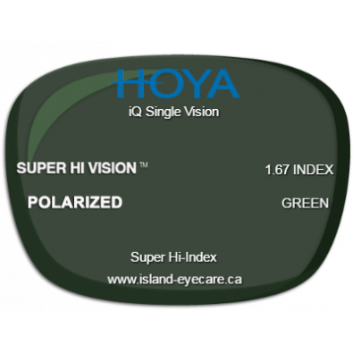 Hoya iQ Single Vision 1.67 Super Hi Vision Hoya Polarized - Green