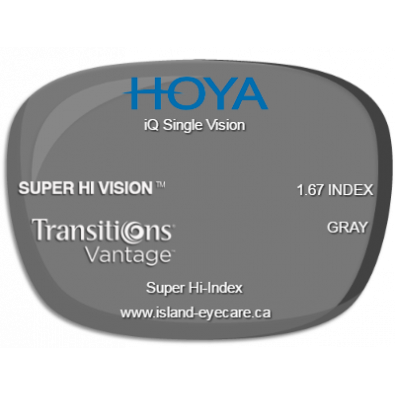 Hoya iQ Single Vision 1.67 Super Hi Vision Transitions Vantage - Gray