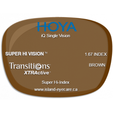 Hoya iQ Single Vision 1.67 Super Hi Vision Transitions XTRActive - Brown