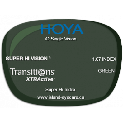 Hoya iQ Single Vision 1.67 Super Hi Vision Transitions XTRActive - Green