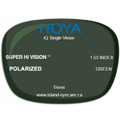 Hoya iQ Single Vision Trivex Super Hi Vision Hoya Polarized - Green