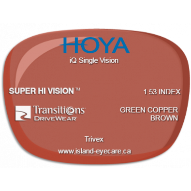 Hoya iQ Single Vision Trivex Super Hi Vision Transitions Drivewear  - Green Copper Brown